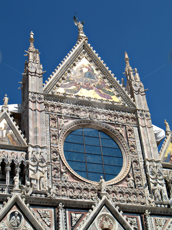 duomo Siena stock photo, The amazing view of the front of the Duomo in Siena (Santa Maria Assunta Cathedral), Tuscany, Italy. by Roberto Marinello