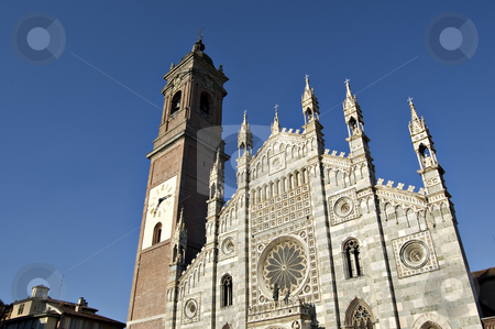 Duomo of Monza stock photo, Duomo of Monza facade in a sunny late afternoon by Roberto Marinello