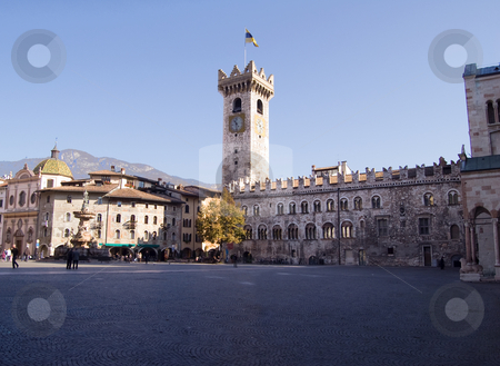 Trento Piazza Duomo stock photo, A view of Piazza Duomo with the Torre Civica, Trento, Italy by Roberto Marinello