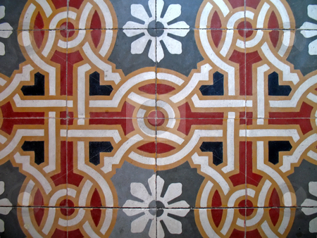 Old floor stock photo, Tiles of an ancient floor, rounds and stripes by Roberto Marinello