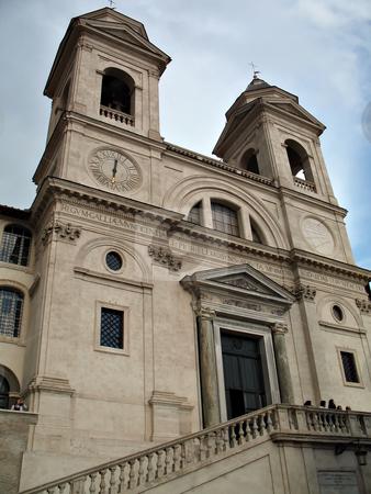 Trinita' dei Monti stock photo, Trinit? dei Monti, famous church in Rome. Scenographic dominance above the Spanish Steps that descend into the Piazza di Spagna by Roberto Marinello