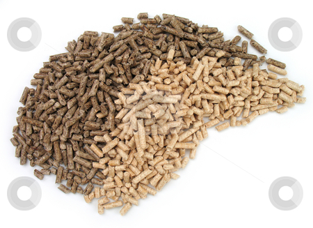 Wood pellets stock photo, Wood pellets for fireplaces and stoves by Roberto Marinello