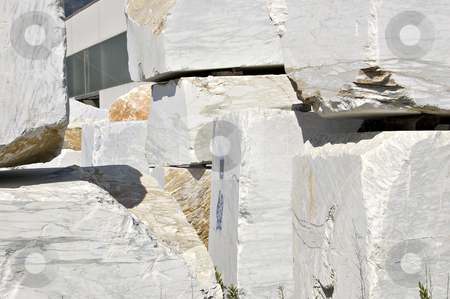 White marble blocks stock photo, Blocks of white marble in Carrara, Tuscany, Italy by Roberto Marinello