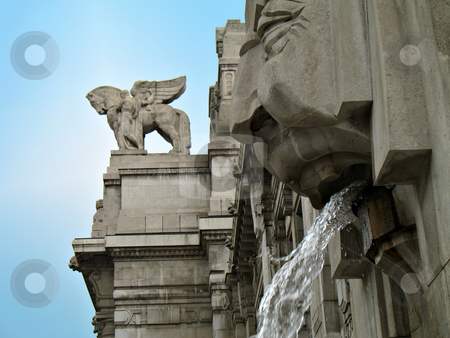 Milan Central Station stock photo, Milan Central Station: fountain and statues by Roberto Marinello