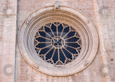 Rose window of the Duomo of Trento stock photo, Rose window detail of the twelfth-thirteenth century Cathedral of San Vigilio, Duomo of Trento, Italy by Roberto Marinello