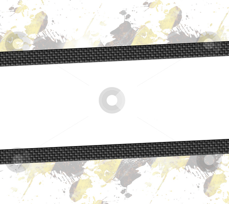 Carbon Fiber Layout stock photo, A hazard stripes paint splatter frame in black and yellow.with carbon fiber accents. by Todd Arena