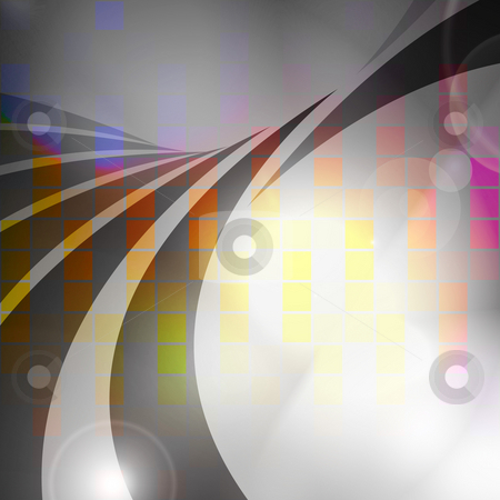 Colorful Audio Waveform stock photo, An abstract graphic equalizer design with swoosh lines. by Todd Arena