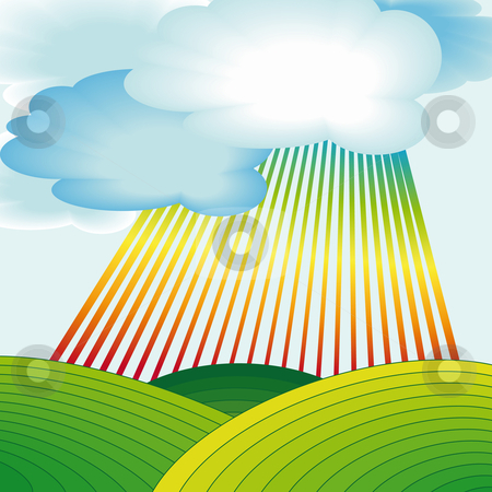 Rural landscape with rainbow stock vector clipart, Rural landscape with rainbow stripes and clouds by Karin Claus