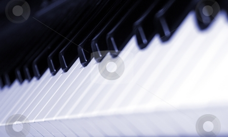 Keyboard stock photo, Black and white piano keyboard from an angle. by Henrik Lehnerer