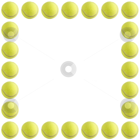 Tennis Ball Frame stock photo, A bunch of tennis balls isolated on a white background. by Travis Manley