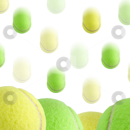 Tennis Ball Background stock photo, A bunch of tennis balls isolated on a white background. Motion blur on the falling balls. by Travis Manley