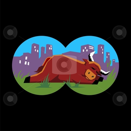Bull sleeping stock vector clipart, Illustration of a bull sleeping as seen through binoculars as a metaphor for the search for the bull market by Orven Enoveso