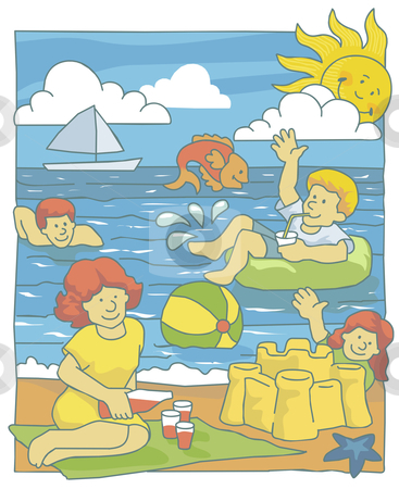 Family at Beach stock vector clipart, Illustration of a family having fun at the beach by Orven Enoveso