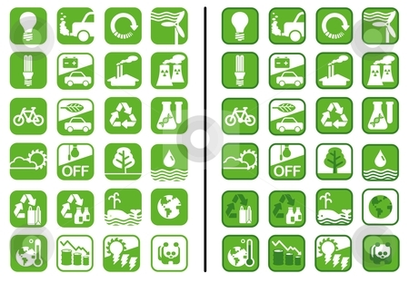 Green Icons stock vector clipart, Icons on earth and ecology issues in monotone and duotone color schemes by Orven Enoveso