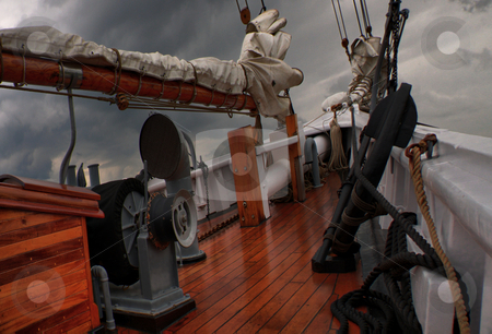 On Deck stock photo, Deck of a sailing schooner by R Deron