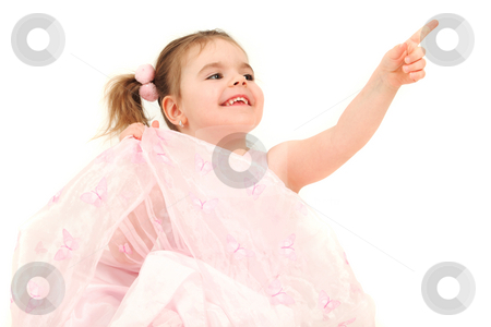 Portrait of young girl in pink princess dress pointing finger, s stock photo, Portrait of young girl in pink princess dress pointing finger, studio shot by Tom P.