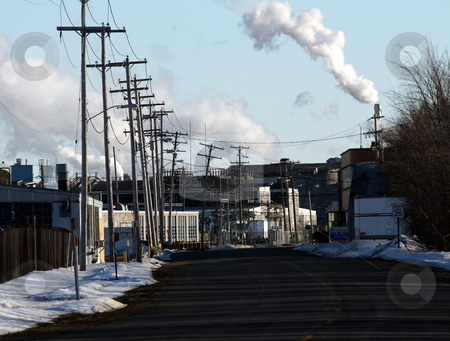 Industrial Street Scene, Air Pollution stock photo,  by Tom and Beth Pulsipher