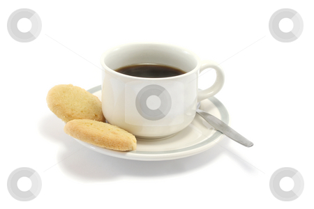 Black Coffee and Biscuits stock photo, Two shortbread biscuits and a cup of black coffee by Helen Shorey