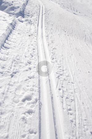 Cross-country ski tracks stock photo, Cross country track in Formazza, Alps, Italy by Roberto Marinello