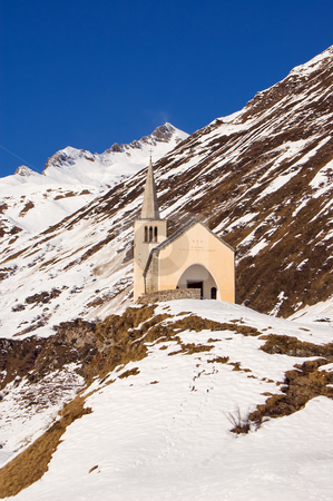 Church in winter alpine landscape stock photo, A small church in a winter landscape, Val Formazza, Alps, Italy by Roberto Marinello