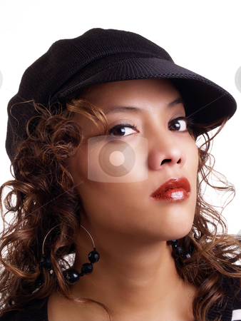 Pretty young hispanic woman wearing black hat stock photo, Portrait of pretty latina woman in black hat by Jeff Cleveland