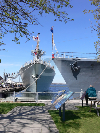 Two warships  stock photo, The warship Halifax, left, and the WW II warship HMCS Haida in the Hamilton harbor. by Horst Petzold