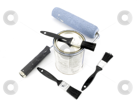 Paint Supplies stock photo, Paint supplies laying on a white background by John Teeter