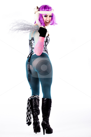 Heavy girl screaming her ass of while dressed up stock photo, Portrait of a harajuku style dressed girl showing her ass by Frenk and Danielle Kaufmann