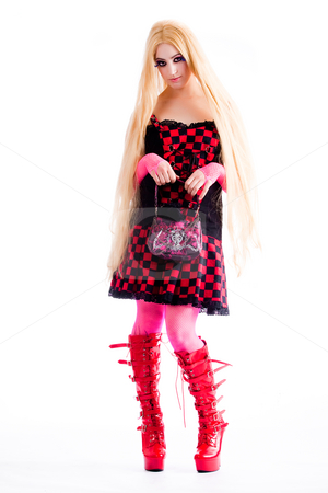 Elegance harajuku girl posing with her little handbag stock photo, Young girl dressed in japanese funky harajuku style by Frenk and Danielle Kaufmann