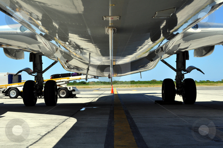 Airplane loading / offloading luggage stock photo, Jet airliner on the ramp loading / offloading luggage by Fernando Barozza