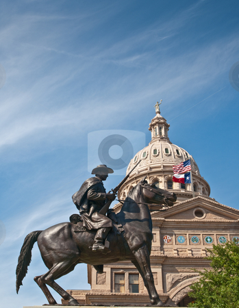 Texas Ranger and capitol dome, Austin, Texas stock photo, Statue of Texas Ranger with capitol dome in background, Austin, Texas by GB Tittle
