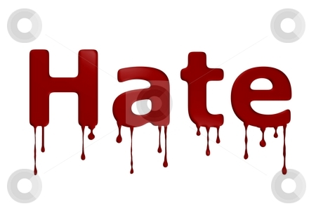 Hate Blood Text stock photo, The word hate bloody on white background. by Henrik Lehnerer