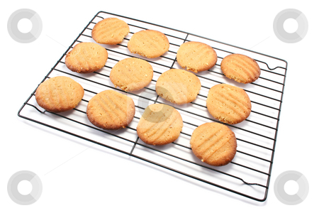Homemade Cookies on a Cooling Rack stock photo, Yummy homemade peanut butter cookies on a metal cooling rack by Helen Shorey