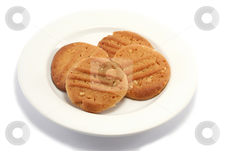 Peanut Cookies on a Plate stock photo, Homemade peanut butter cookies on a plate from a higher angle by Helen Shorey