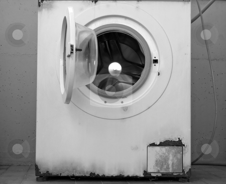 Time to change your washing machine stock photo, Time to change your washing machine: an old rusty washing machine (B&W version) by Roberto Marinello
