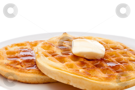 A horizontal closeup of two frozen breakfast waffles with a pat  stock photo, A horizontal closeup of two frozen breakfast waffles with a pat of butter and maple syrup on a white plate by Vince Clements