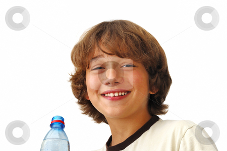 Smiling Teenage Boy After Drinkng Water stock photo, Smiling teenage boy after drinking water isolated on white background. by Denis Radovanovic
