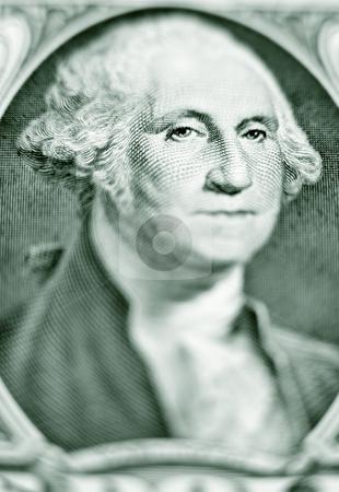 Likeness of George Washington on one dollar bill stock photo, Close-up of George Washington on a one dollar bill by Bryan Mullennix