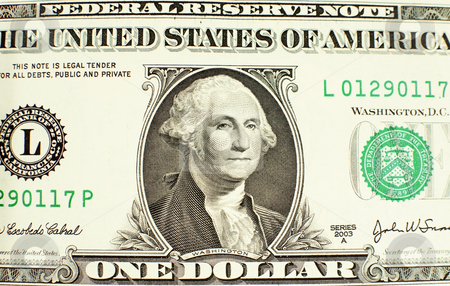Likeness of George Washington on one dollar bill stock photo, Close-up of George Washington on a one dollar bill by Bryan Mullennix