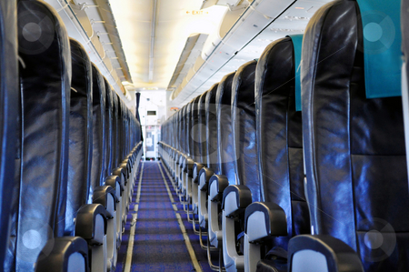 Airliner passenger cabin stock photo, Empty passengers' cabin in commercial jet airplane by Fernando Barozza