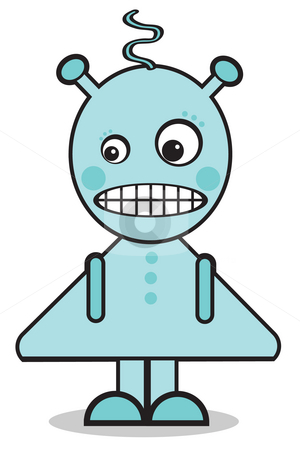 Robo Girl stock photo, Blue retro robot girl by Nancy Dunkerley