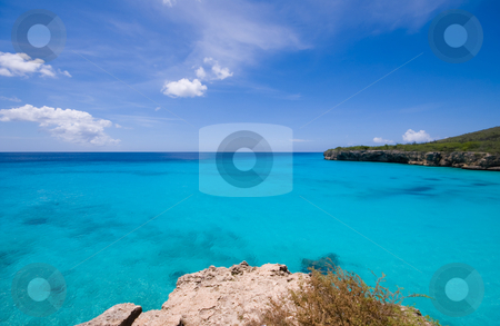 Turquoise water viewpoint stock photo, Turquoise caribbean bay view  with a nice deserted beach by Karin Claus