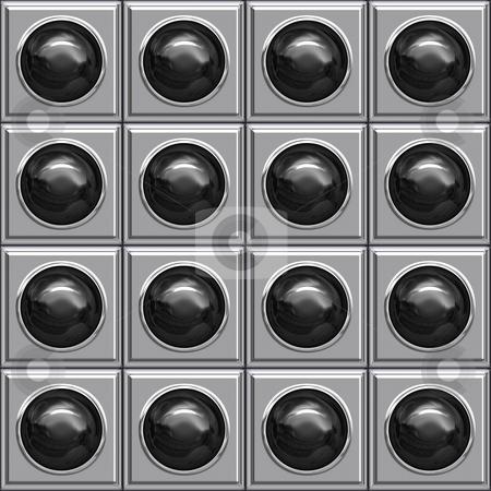 Black ball boxes stock photo, Seamless texture of glossy black balls in metallic boxes by Wino Evertz