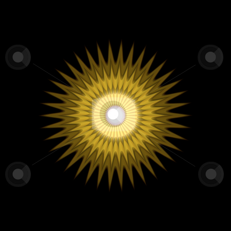 Sun mandala pattern stock photo, 3d texture of yellow to ochre sun rays by Wino Evertz
