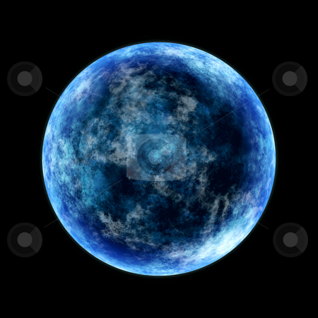 Blue moon stock photo, Round planet lighted from the side in cold blue by Wino Evertz