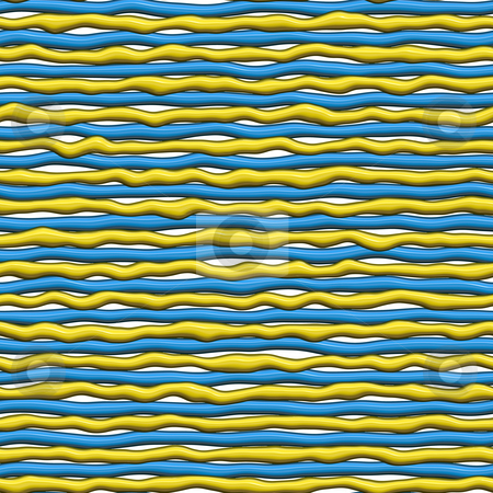 Dripping plastic lines stock photo, Seamless texture of creamy wet yellow and blue lines on white by Wino Evertz
