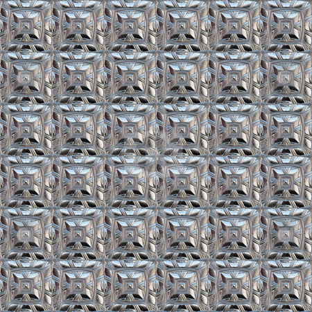 Silver squares pattern stock photo, Seamless texture of glossy metal classic ornamental shapes by Wino Evertz