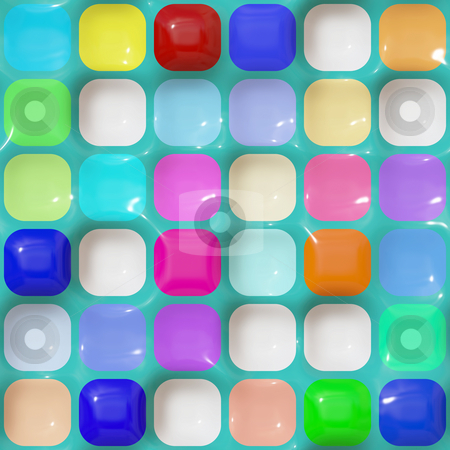 Glossy squares pattern stock photo, Seamless 3d texture of different colored rounded cubes by Wino Evertz