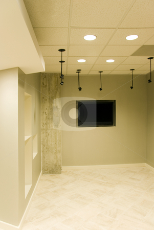 Office Lobby stock photo, A modern office lobby with a black T.V. by Kevin Tietz