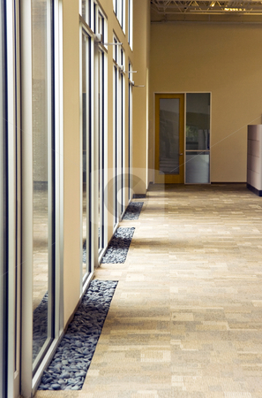 Glass Hallway stock photo, A office building hallway next to some large glass windows by Kevin Tietz